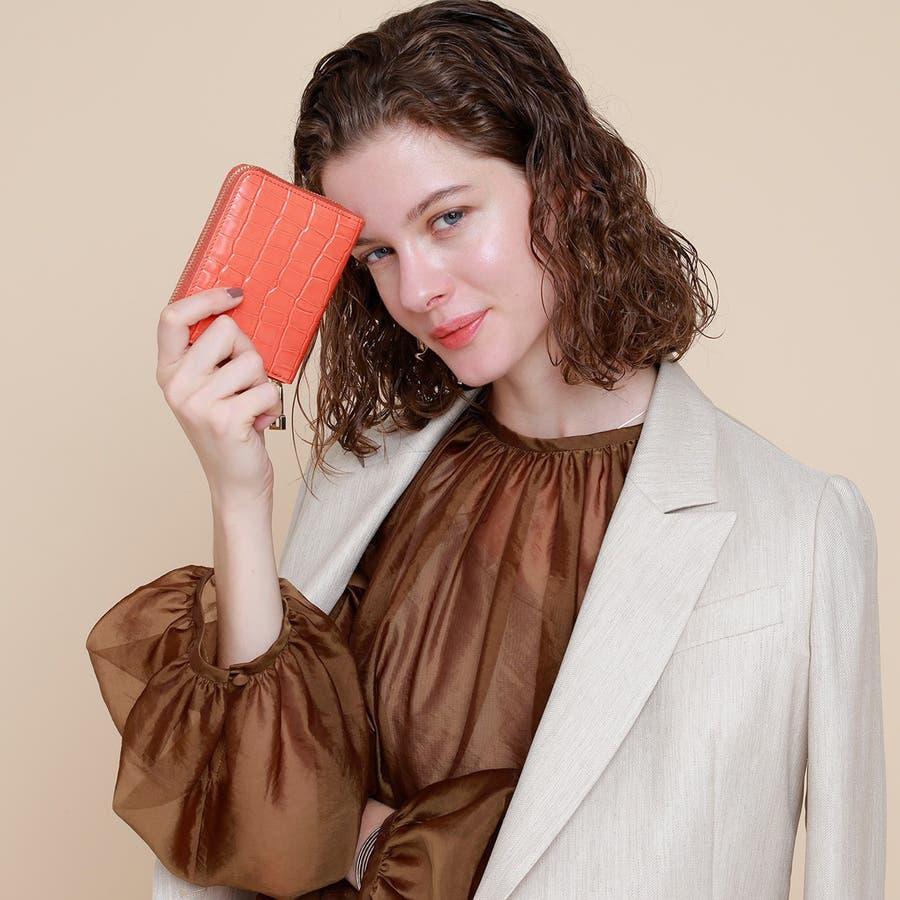 クロコ型押しレザー ラウンドファスナー折財布 COCCO コッコ 2