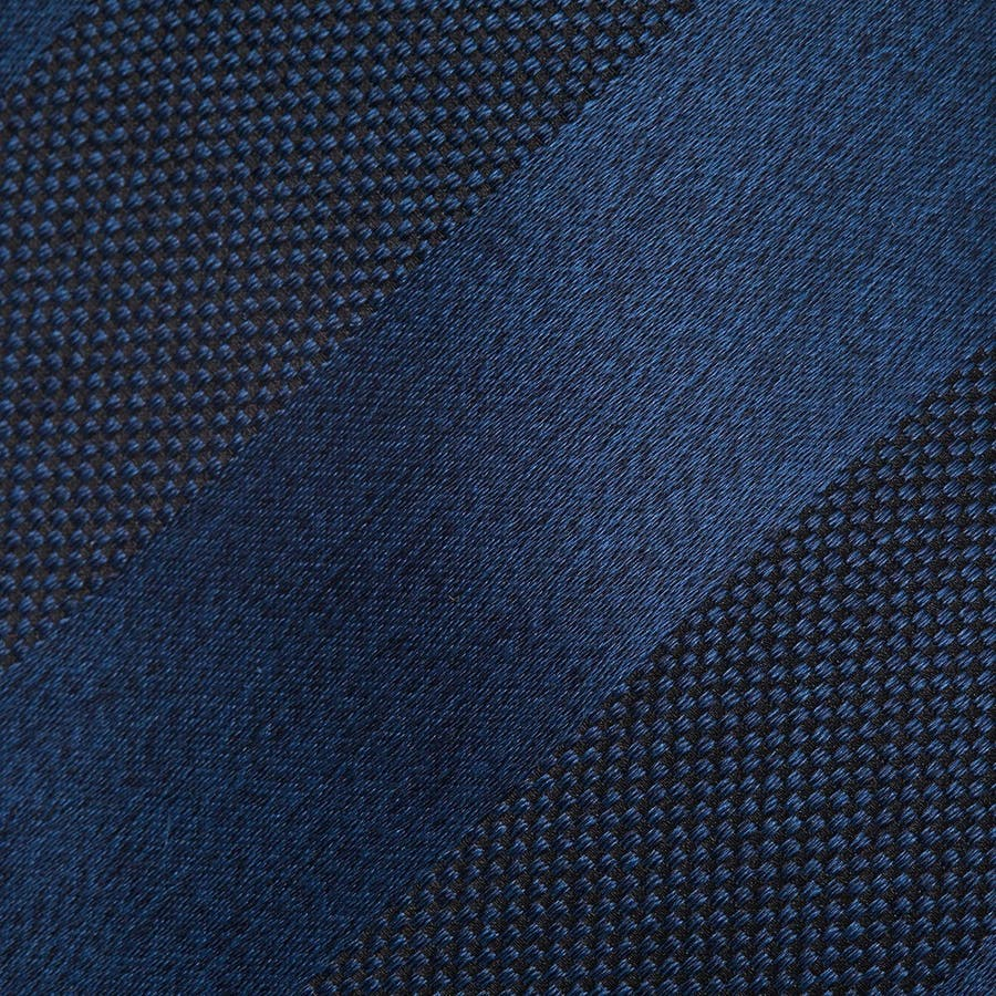 メランジサテンバスケットミックス織りストライプ無地 ネクタイ マリンブルー 3