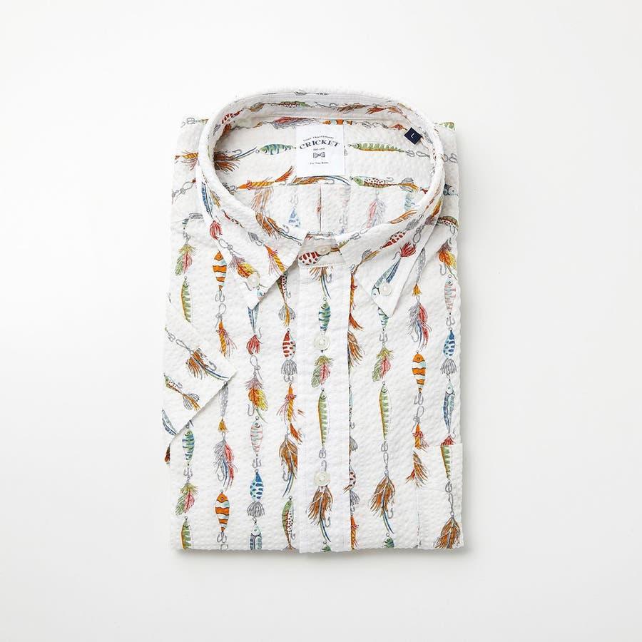 ルアーモチーフ柄プリントボタンダウン半袖カジュアルシャツ 20