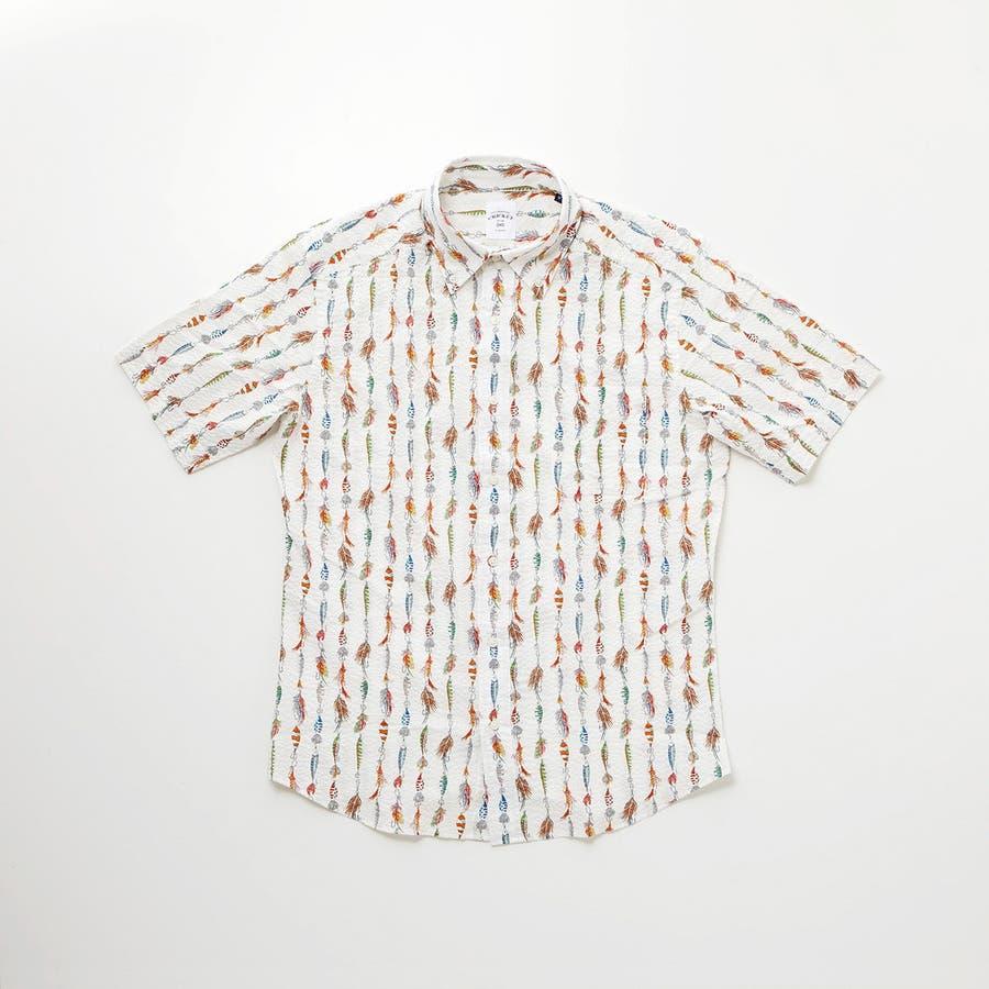 ルアーモチーフ柄プリントボタンダウン半袖カジュアルシャツ 2
