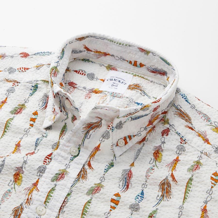ルアーモチーフ柄プリントボタンダウン半袖カジュアルシャツ 4