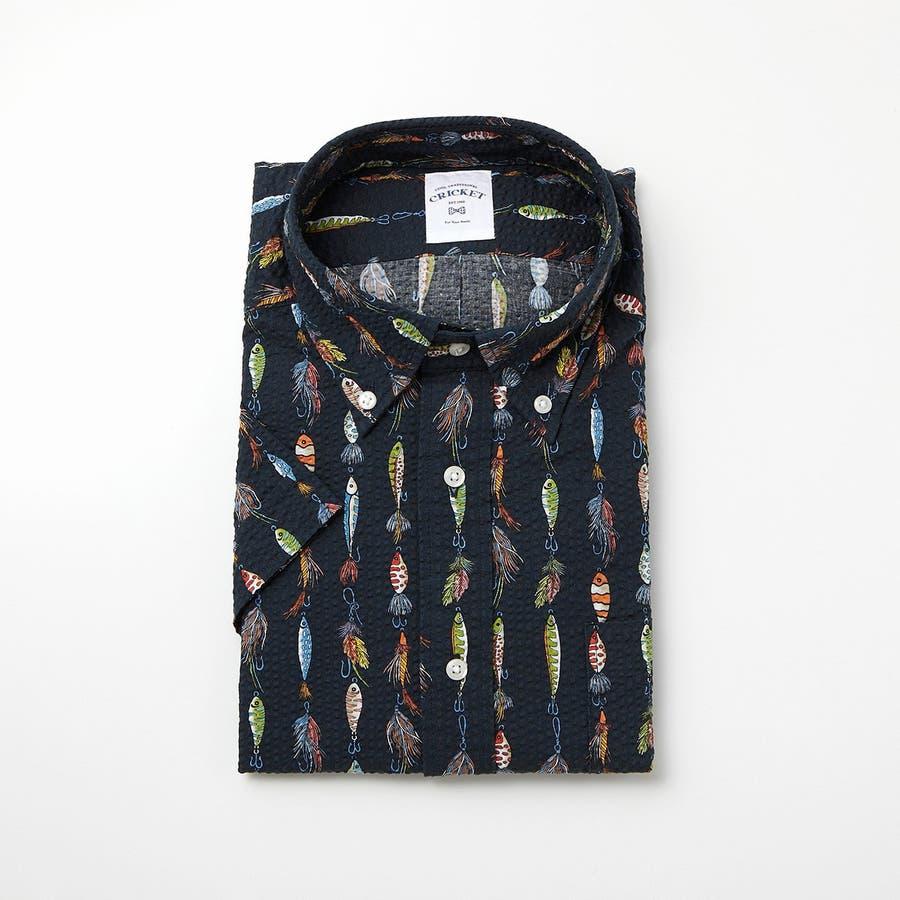 ルアーモチーフ柄プリントボタンダウン半袖カジュアルシャツ 76
