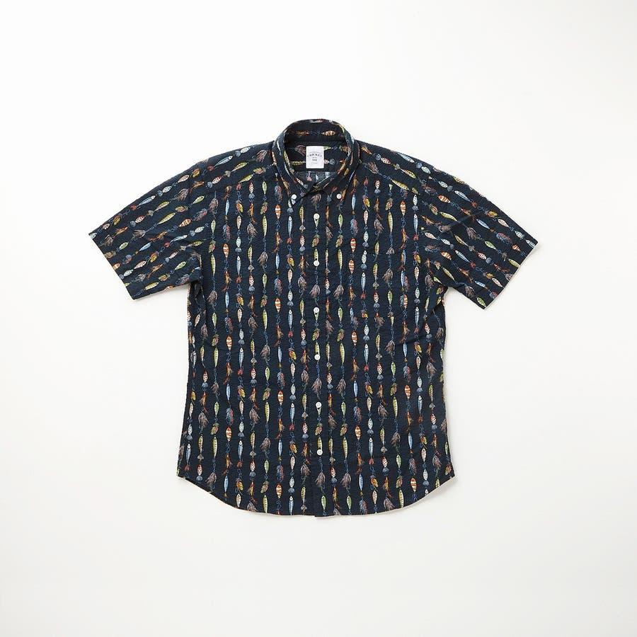 ルアーモチーフ柄プリントボタンダウン半袖カジュアルシャツ 6
