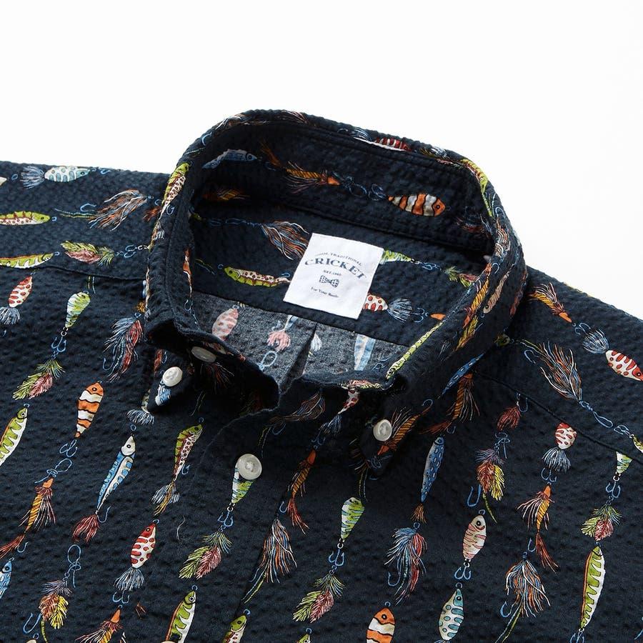 ルアーモチーフ柄プリントボタンダウン半袖カジュアルシャツ 8