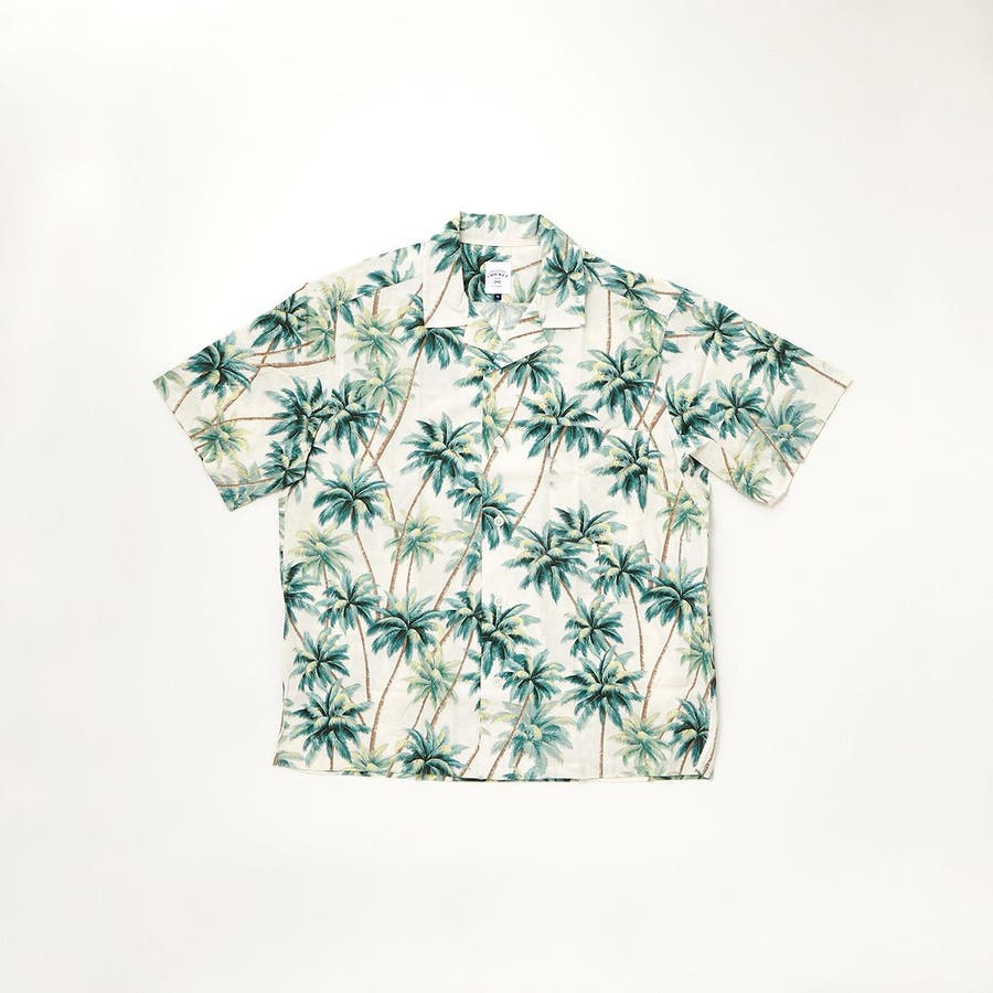 ハワイアン柄プリント 半袖オープンカラーシャツ 20
