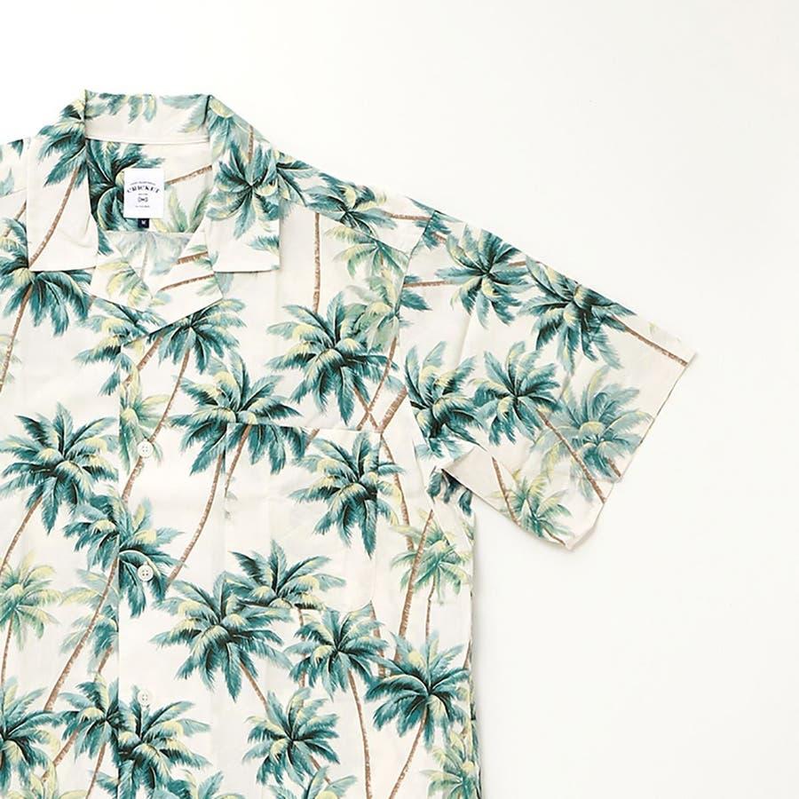 ハワイアン柄プリント 半袖オープンカラーシャツ 4