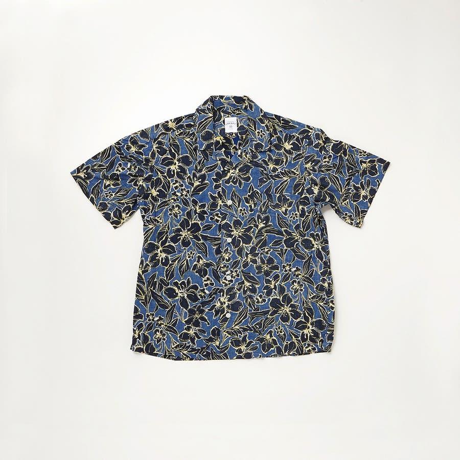 ハワイアン柄プリント 半袖オープンカラーシャツ 76