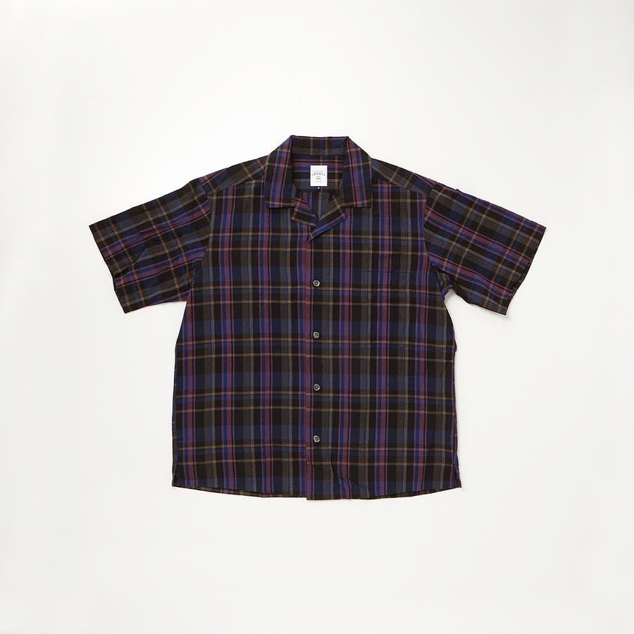 マドラスチェック 半袖オープンカラーシャツ 77