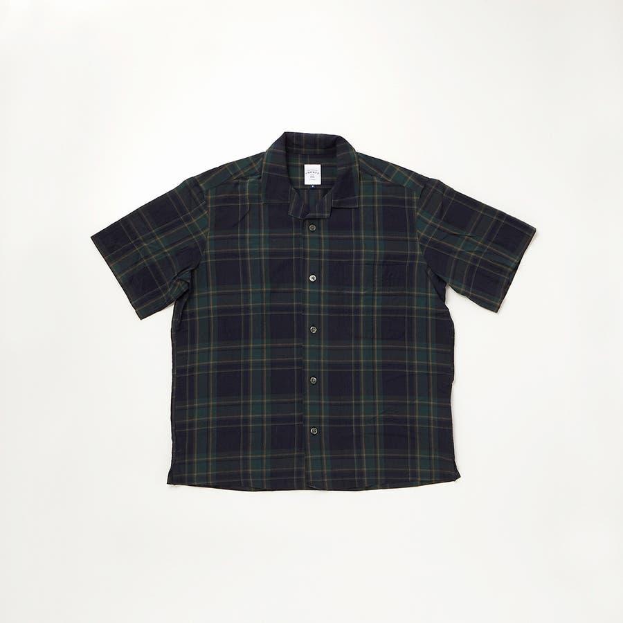 マドラスチェック 半袖オープンカラーシャツ 76