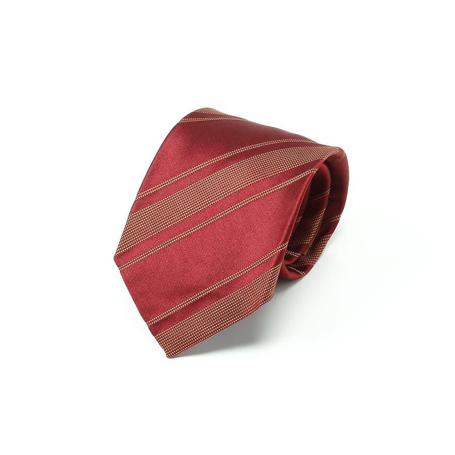 イタリア製生地 ミックス織りストライプ ネクタイ Noble ノーブル レッド 1