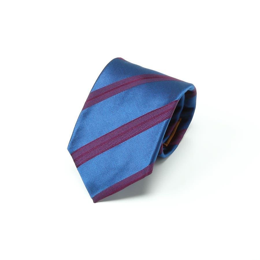 イタリア製生地 サテンミックス織りストライプ ネクタイ Noble ノーブル エンジ 1