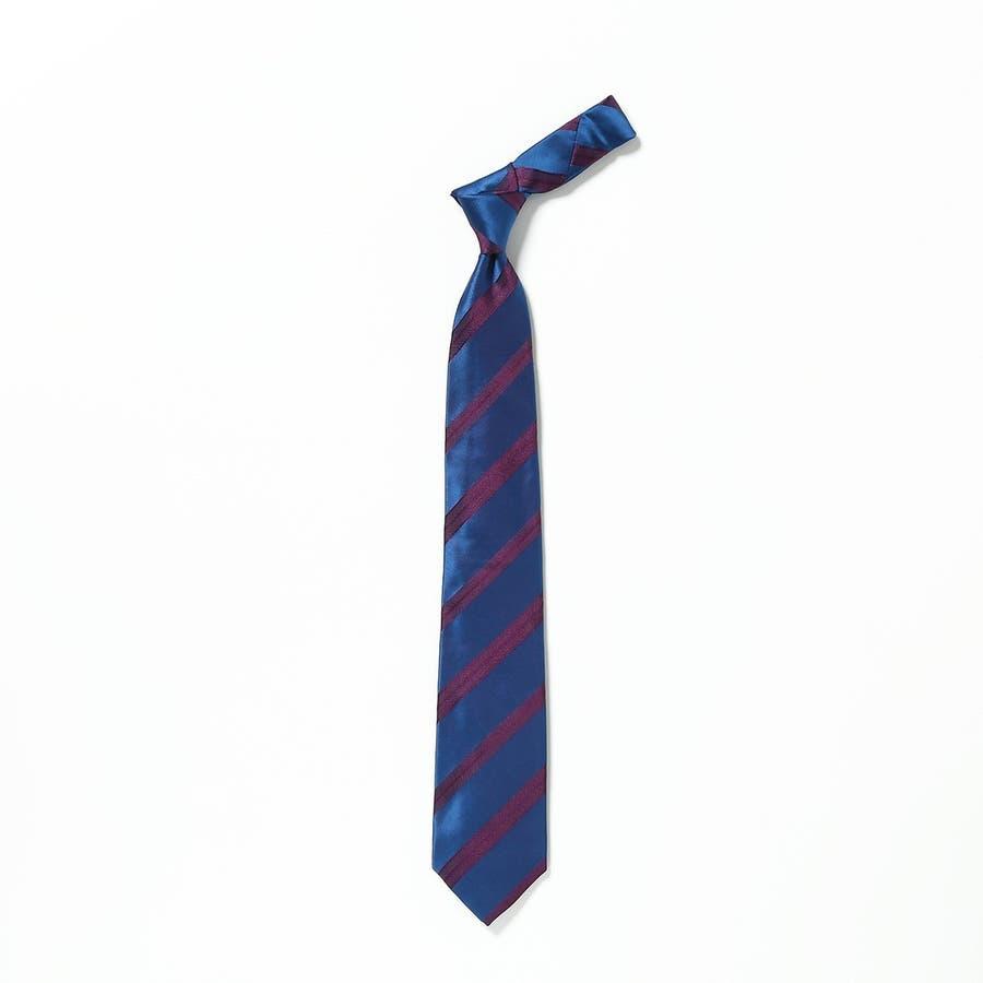 イタリア製生地 サテンミックス織りストライプ ネクタイ Noble ノーブル エンジ 2