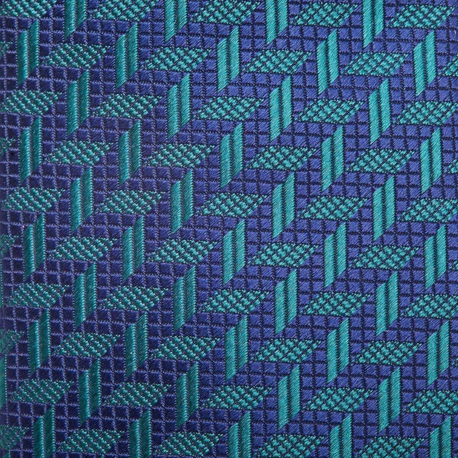 幾何学柄 ネクタイ グリーン 3