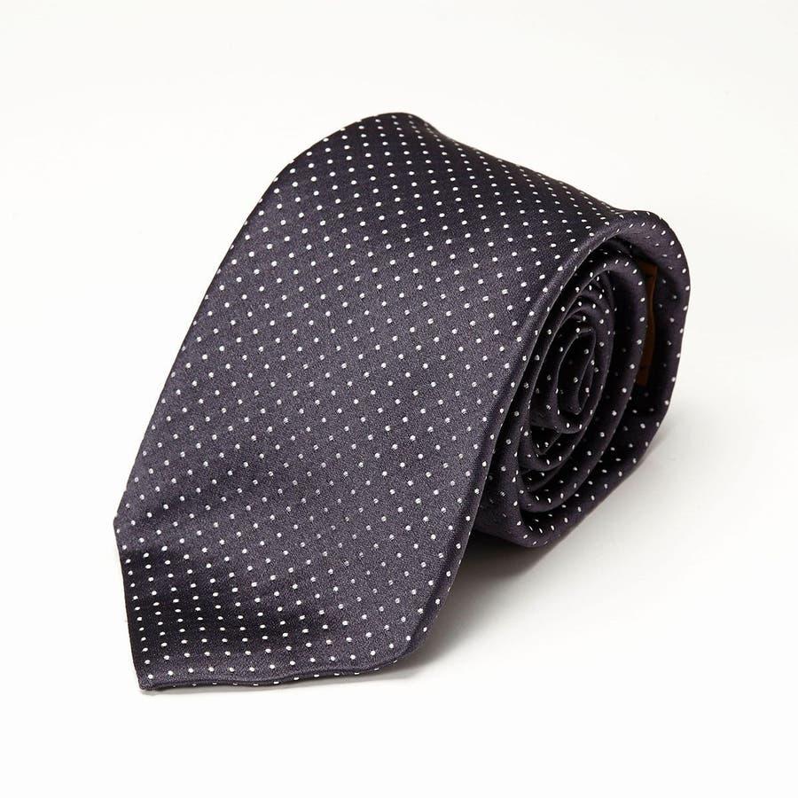 サテン織りピンドット柄 ネクタイ チャコールグレー 2