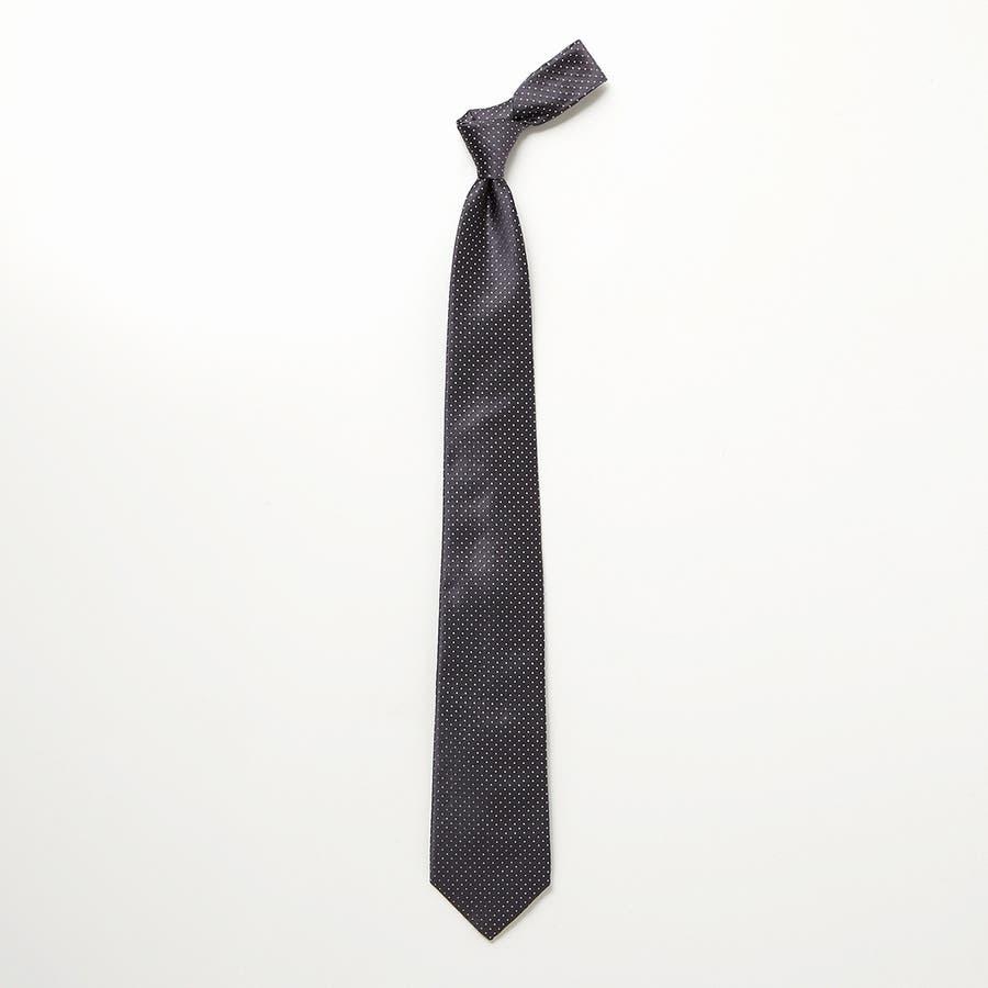 サテン織りピンドット柄 ネクタイ チャコールグレー 3
