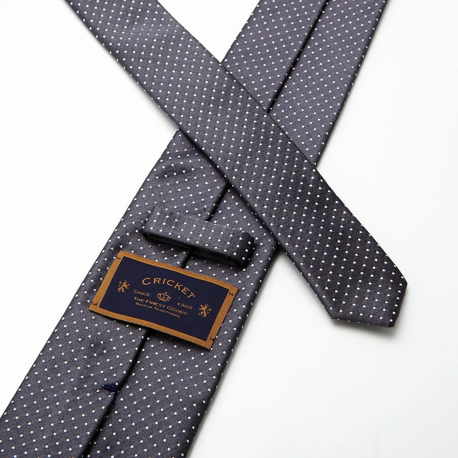サテン織りピンドット柄 ネクタイ チャコールグレー 5