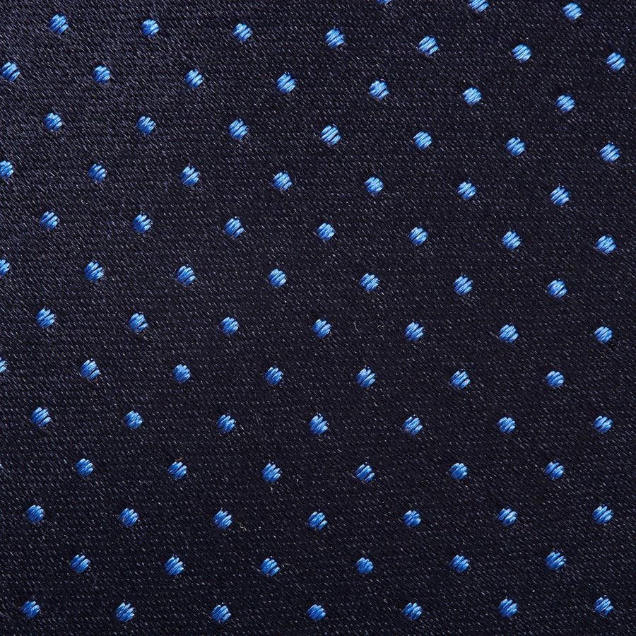 サテン織りピンドット柄 ネクタイ マリンブルー 4