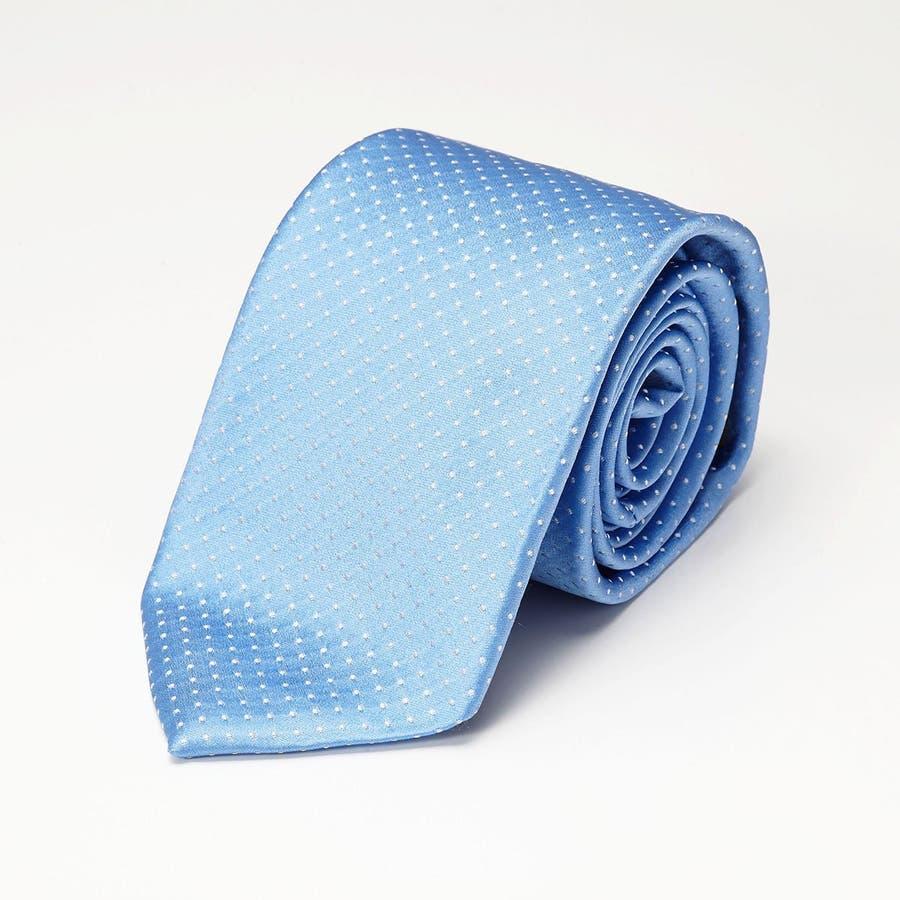 サテン織りピンドット柄 ネクタイ ターコイズブルー 2