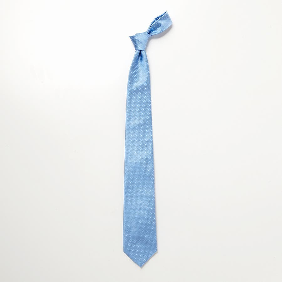 サテン織りピンドット柄 ネクタイ ターコイズブルー 3