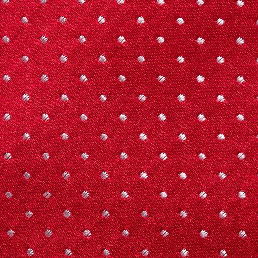 サテン織りピンドット柄 ネクタイ レッド 4