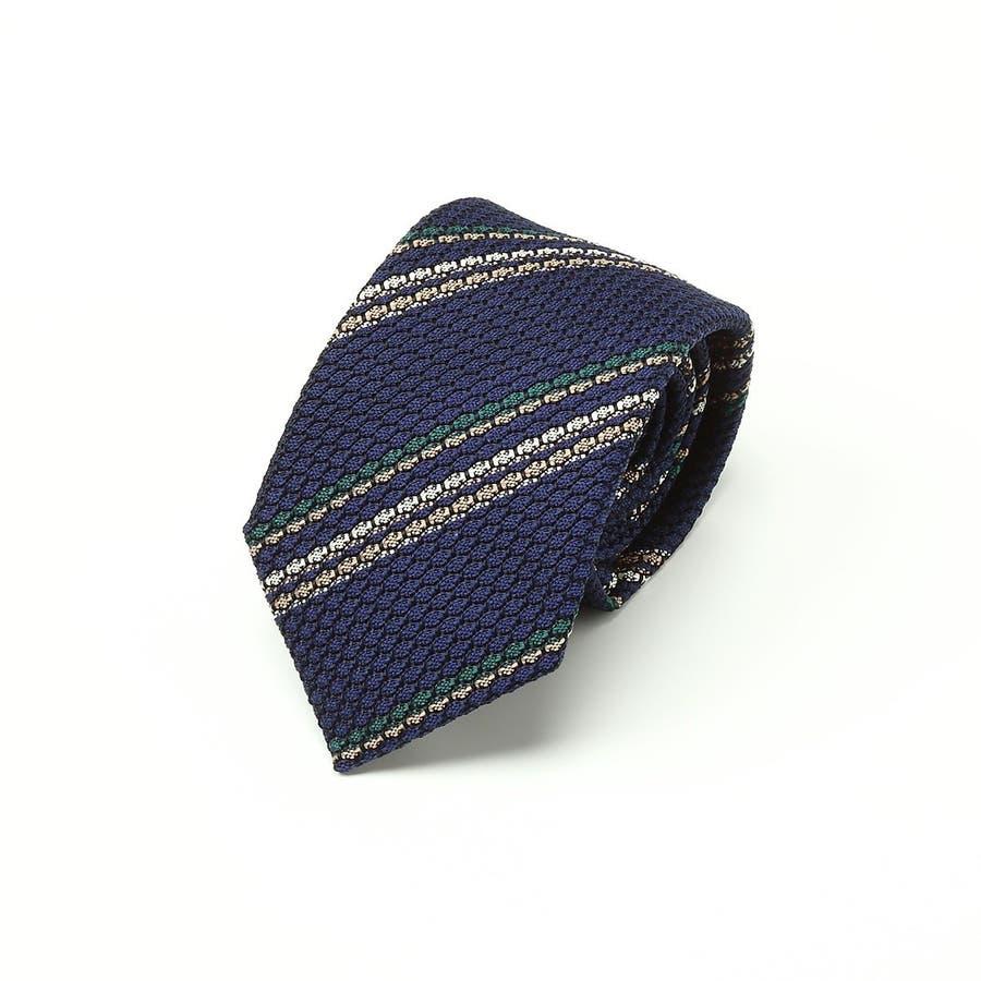 フレスコ織り ストライプ柄 ネクタイ コン 1