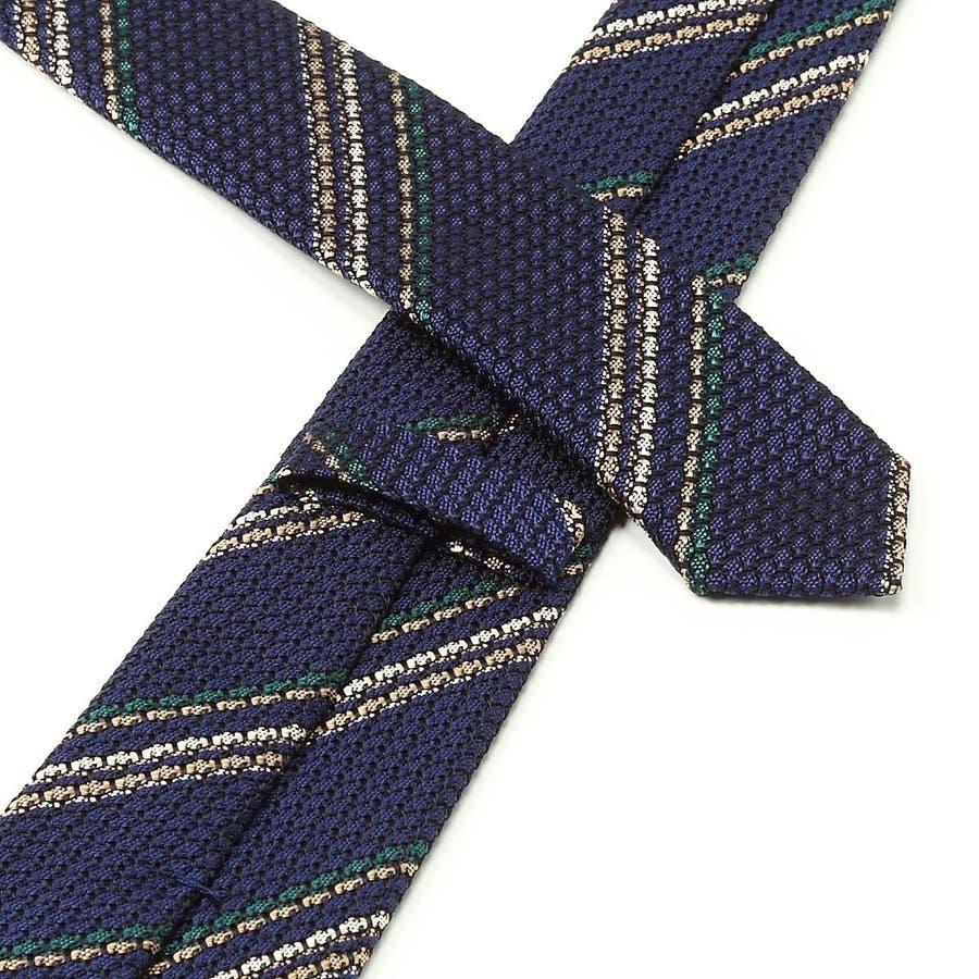 フレスコ織り ストライプ柄 ネクタイ コン 4