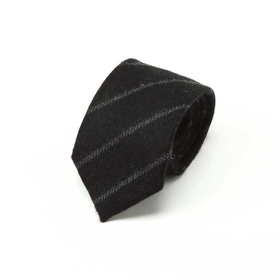 ウール ストライプ柄 ネクタイ チャコールグレー 1