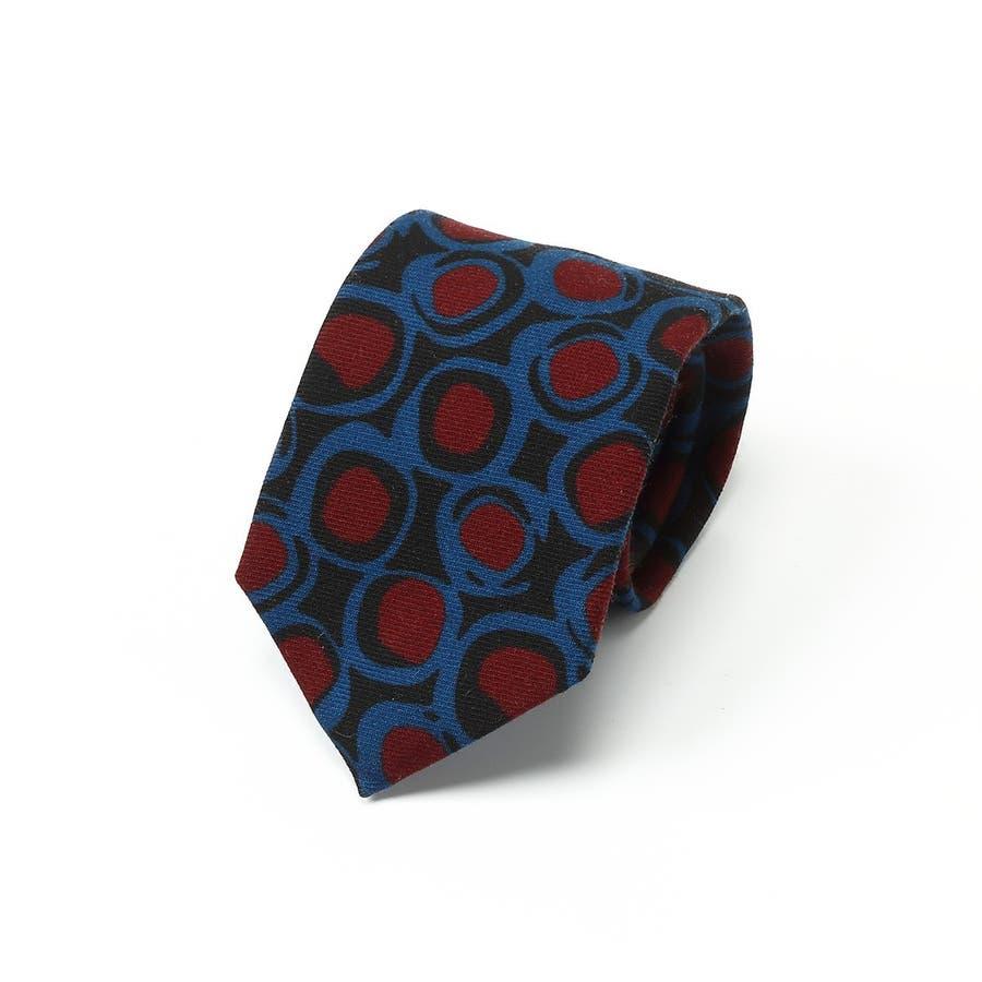 イタリア製ウール生地 ビンテージ調柄 プリントネクタイ Noble ノーブル ブルー 1