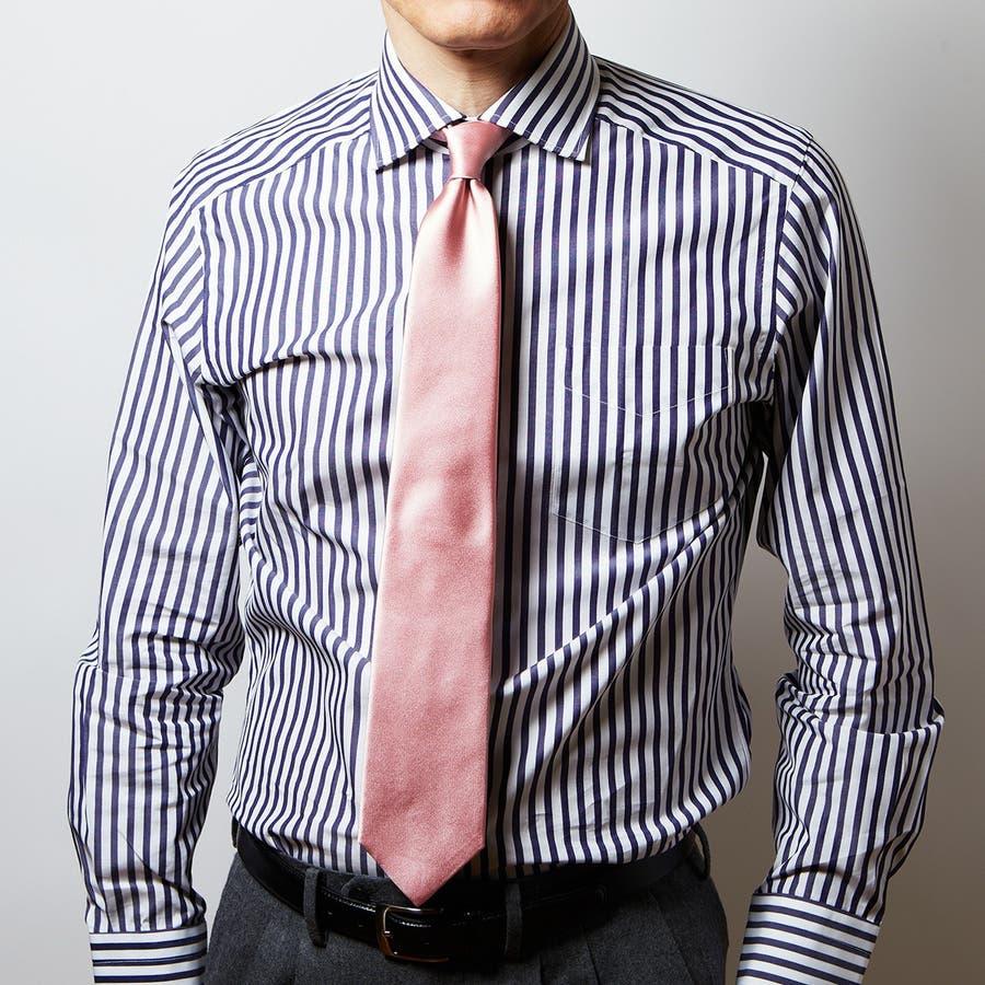 サテン織り無地 ネクタイ ピンク 1