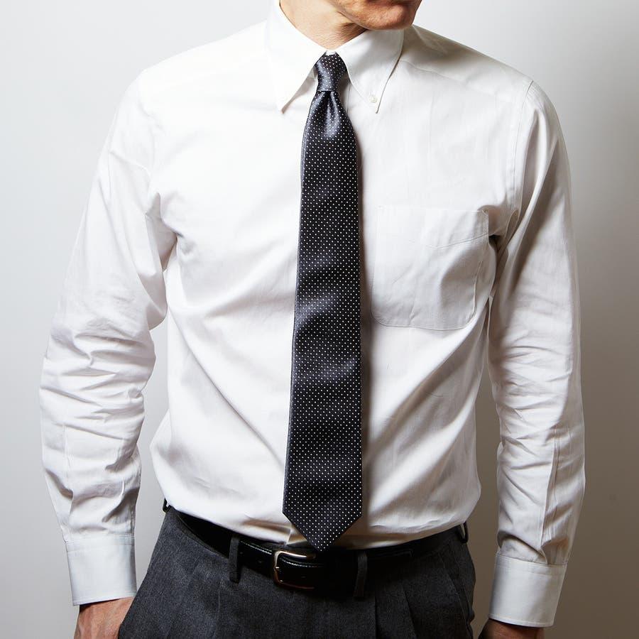 サテン織りピンドット柄 ネクタイ チャコールグレー 1