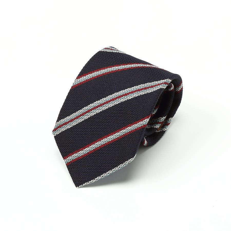 イタリア製生地 変わり織りストライプ ネクタイ Noble ノーブル コン 1