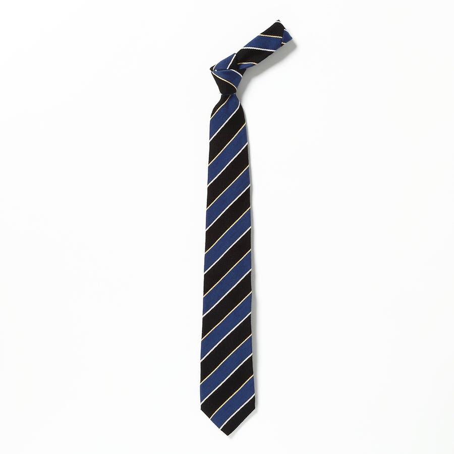 イタリア製生地 ウール混 絡み織りストライプ ネクタイ Noble ノーブル ブルー 2