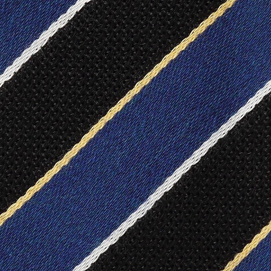 イタリア製生地 ウール混 絡み織りストライプ ネクタイ Noble ノーブル ブルー 3