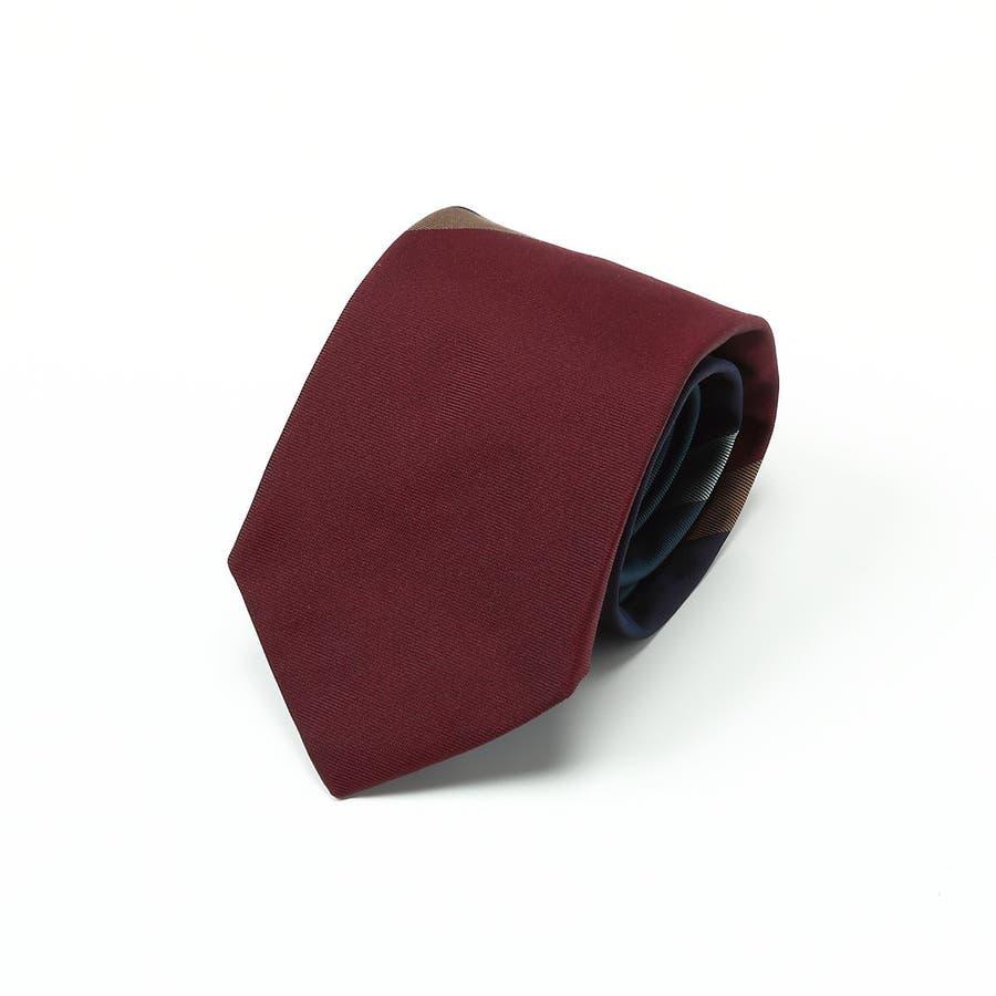 英国製生地 レップ織りビッグストライプ柄 ネクタイ Premium プレミアム ダークワイン 1