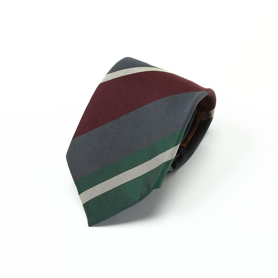 英国製生地 レップ織りビッグストライプ柄 ネクタイ Premium プレミアム グレー 1