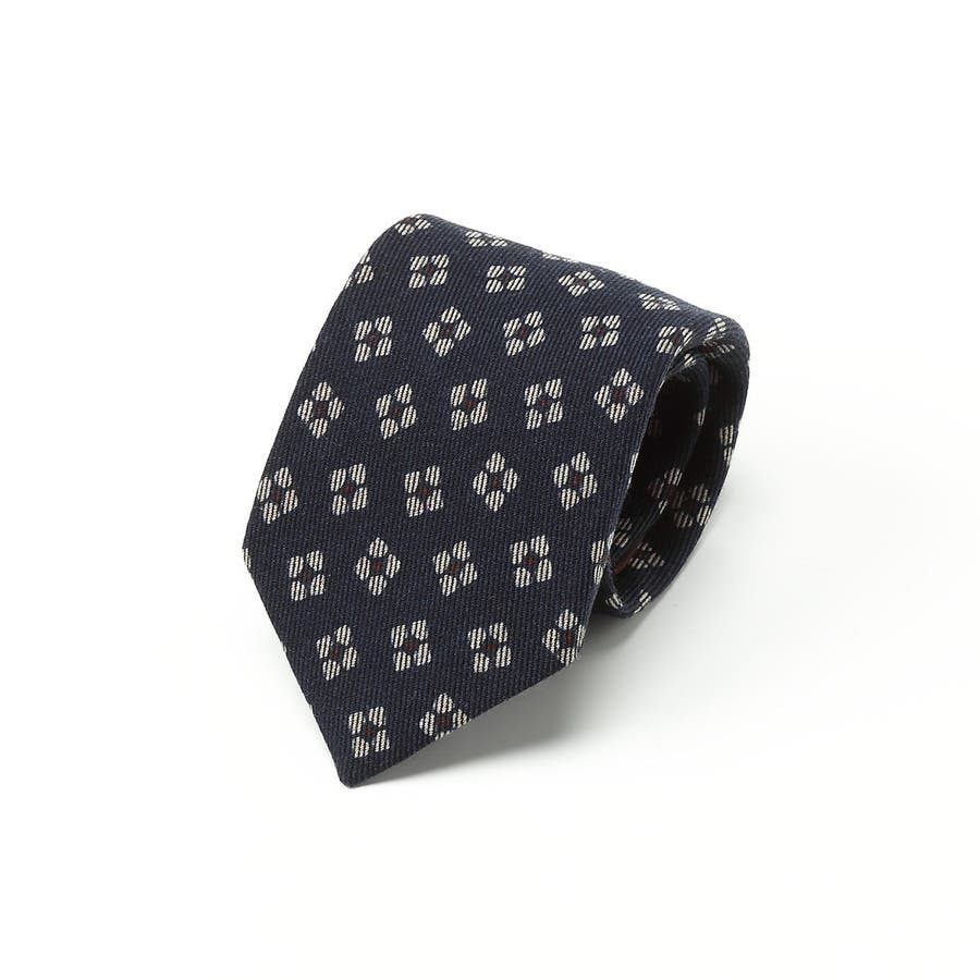 小紋柄 ウールプリント ネクタイ コン 1