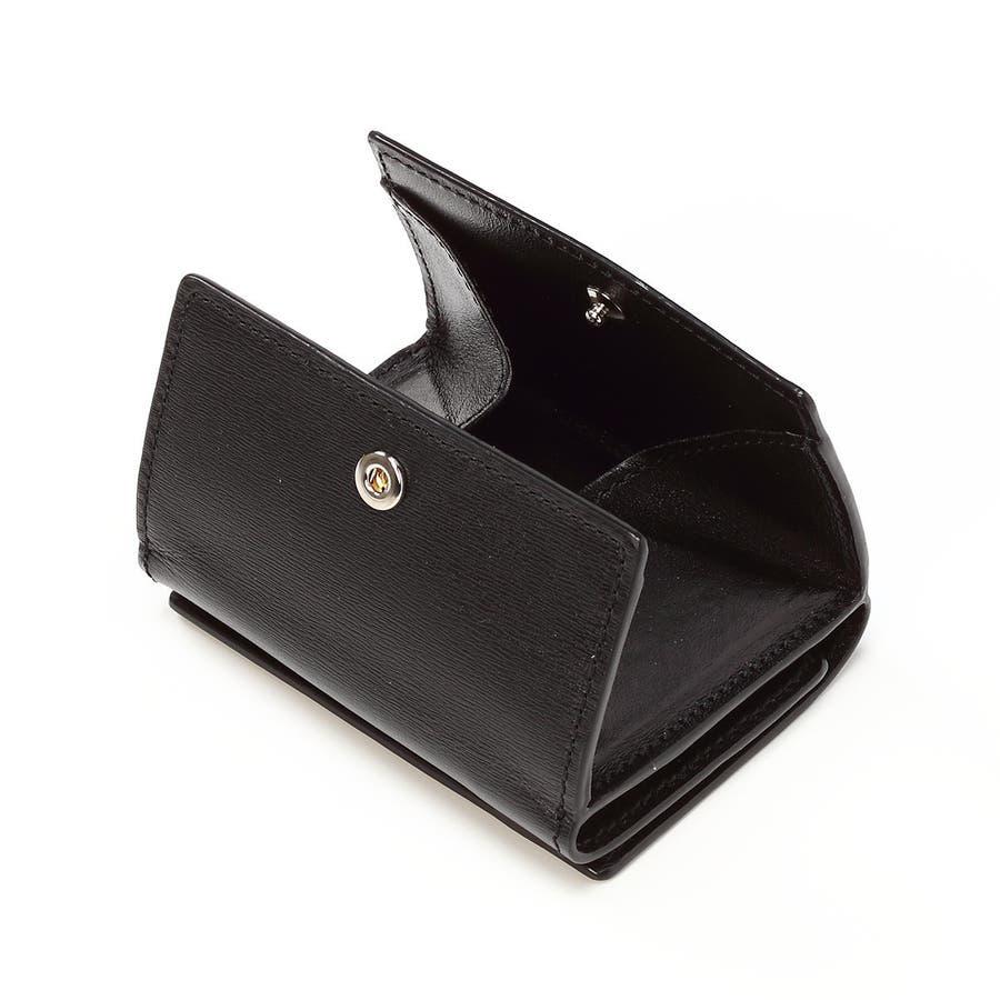 水シボ型押し パルメラート 三つ折り ウォレット ブラック 5