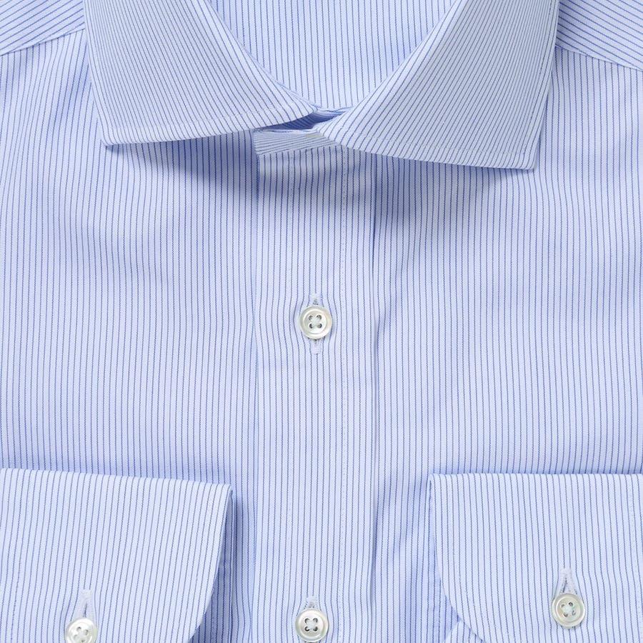 ピンストライプ柄 ワイドカラーシャツ 日本製 ブルー 2