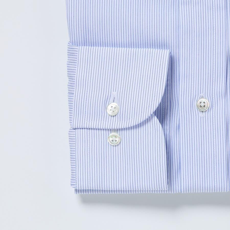ピンストライプ柄 ワイドカラーシャツ 日本製 ブルー 3