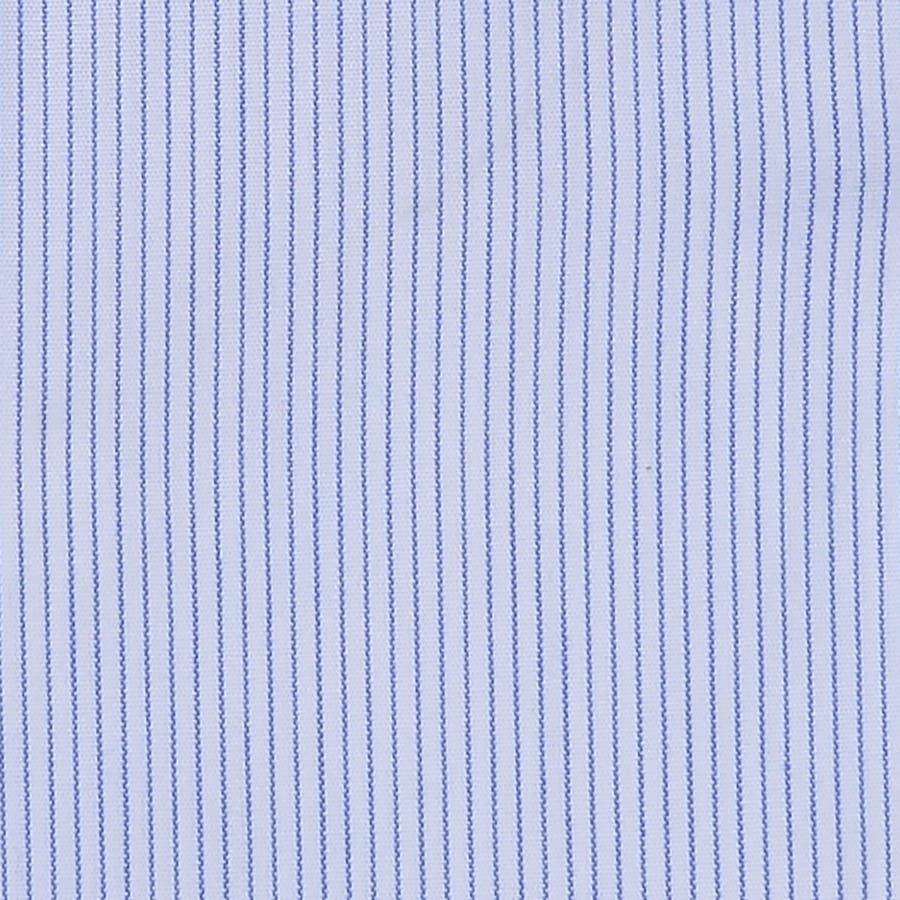 ピンストライプ柄 ワイドカラーシャツ 日本製 ブルー 4