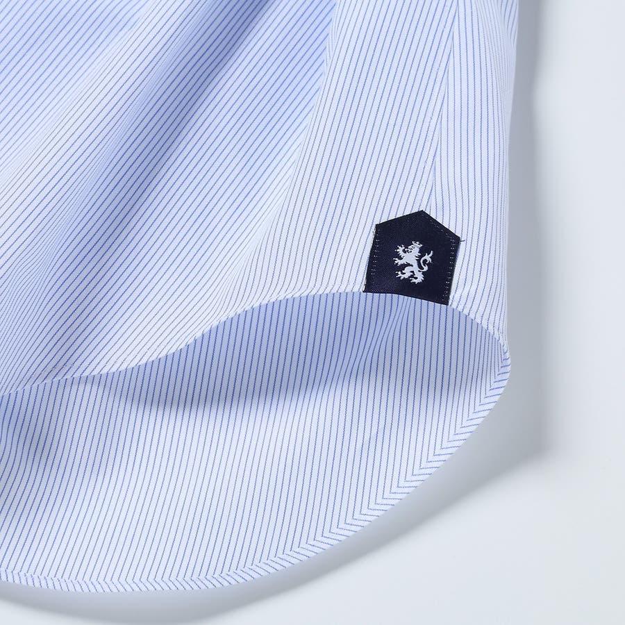 ピンストライプ柄 ワイドカラーシャツ 日本製 ブルー 6