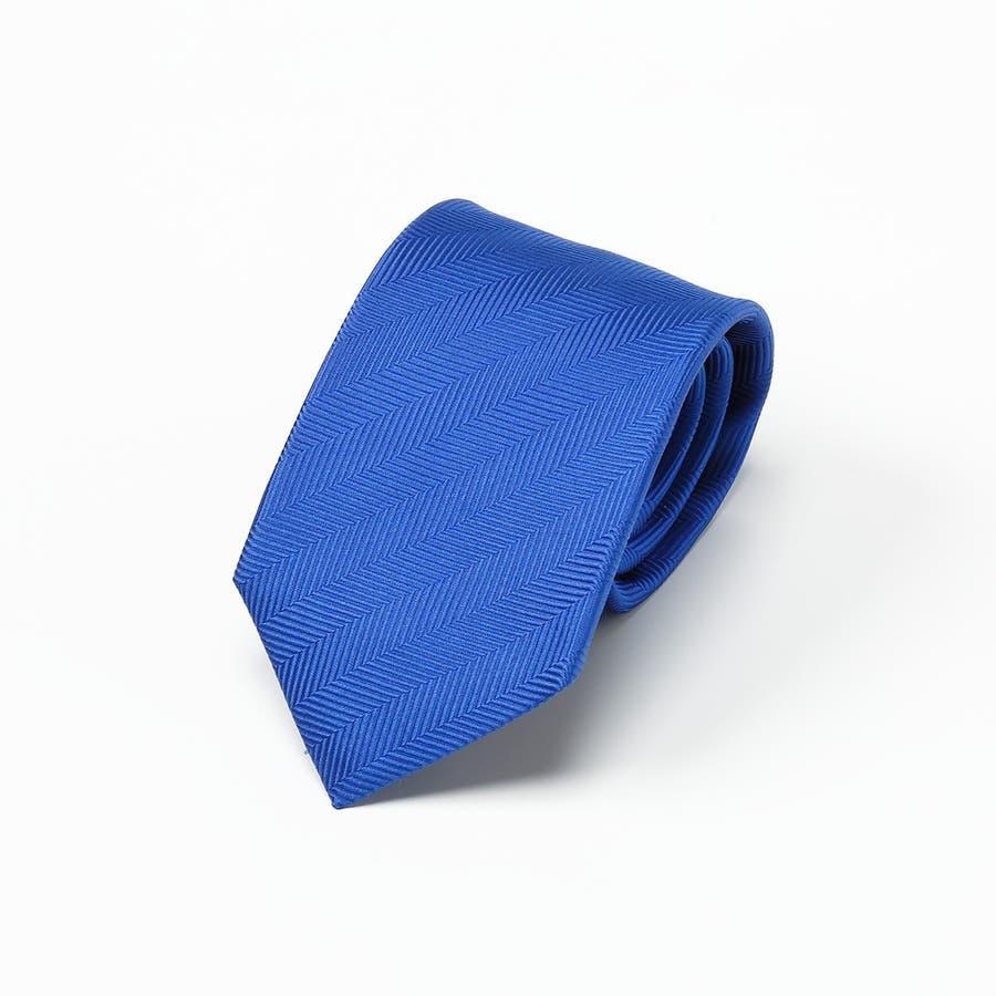 ネクタイ無地・タイピン・ハンカチ 3点セット Premium ブルー 2