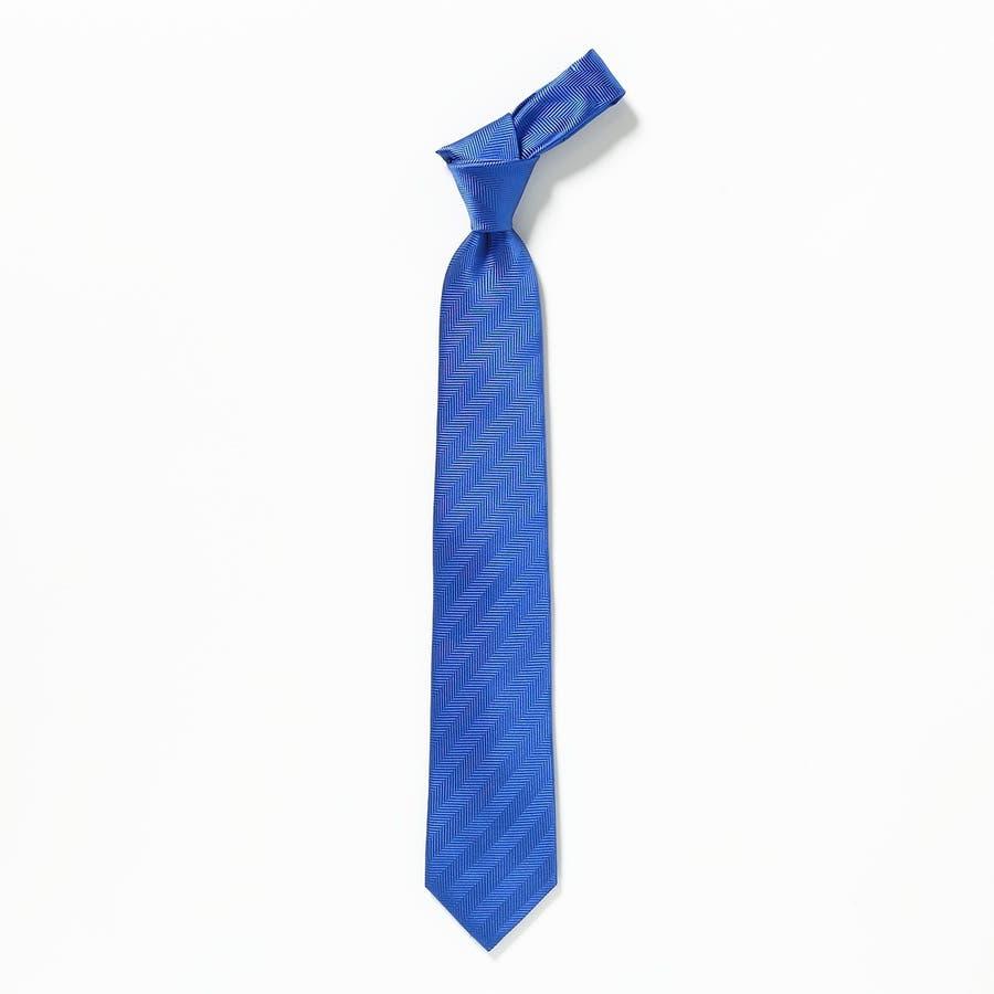 ネクタイ無地・タイピン・ハンカチ 3点セット Premium ブルー 3
