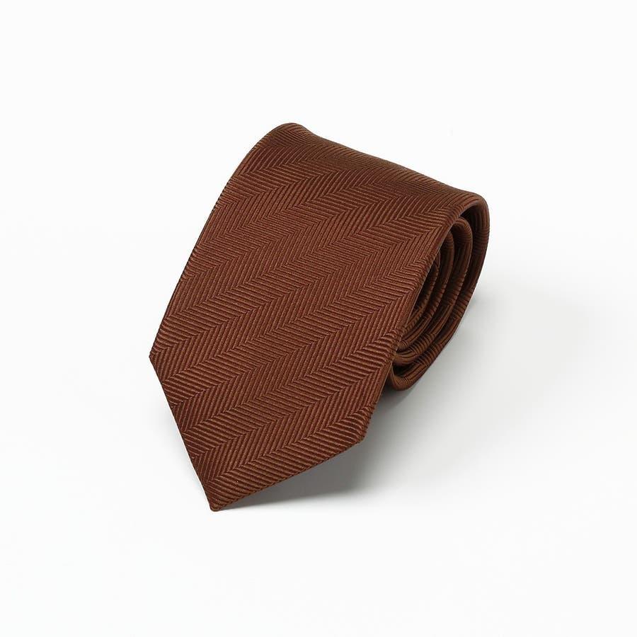 ヘリンボン地柄ネクタイ 日本製 Premium ブラウン 2