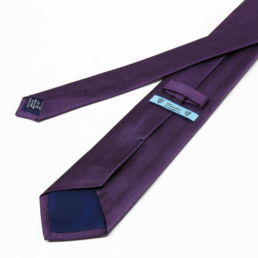 綾織りメランジ無地ネクタイ Premium ダークパープル 8