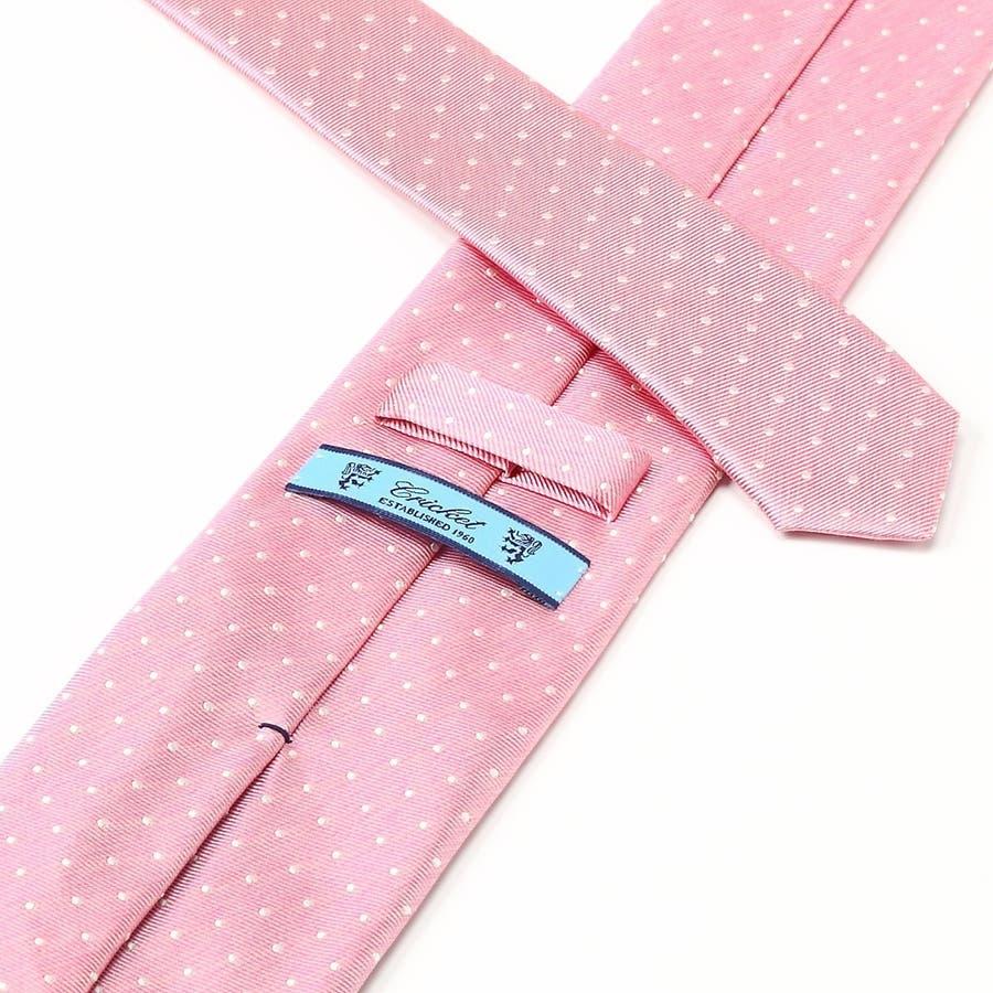 オリジナル 綾織りピンドット柄ネクタイ 日本製 Premium ピンク 4