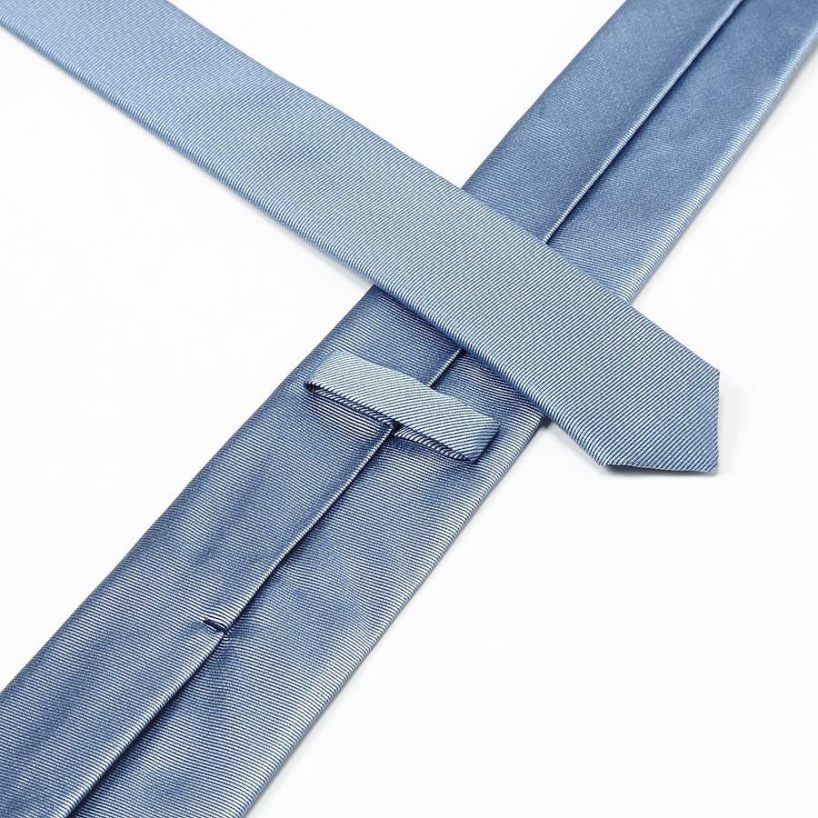 綾織りメランジ無地スリムネクタイ Premium ターコイズブルー 5