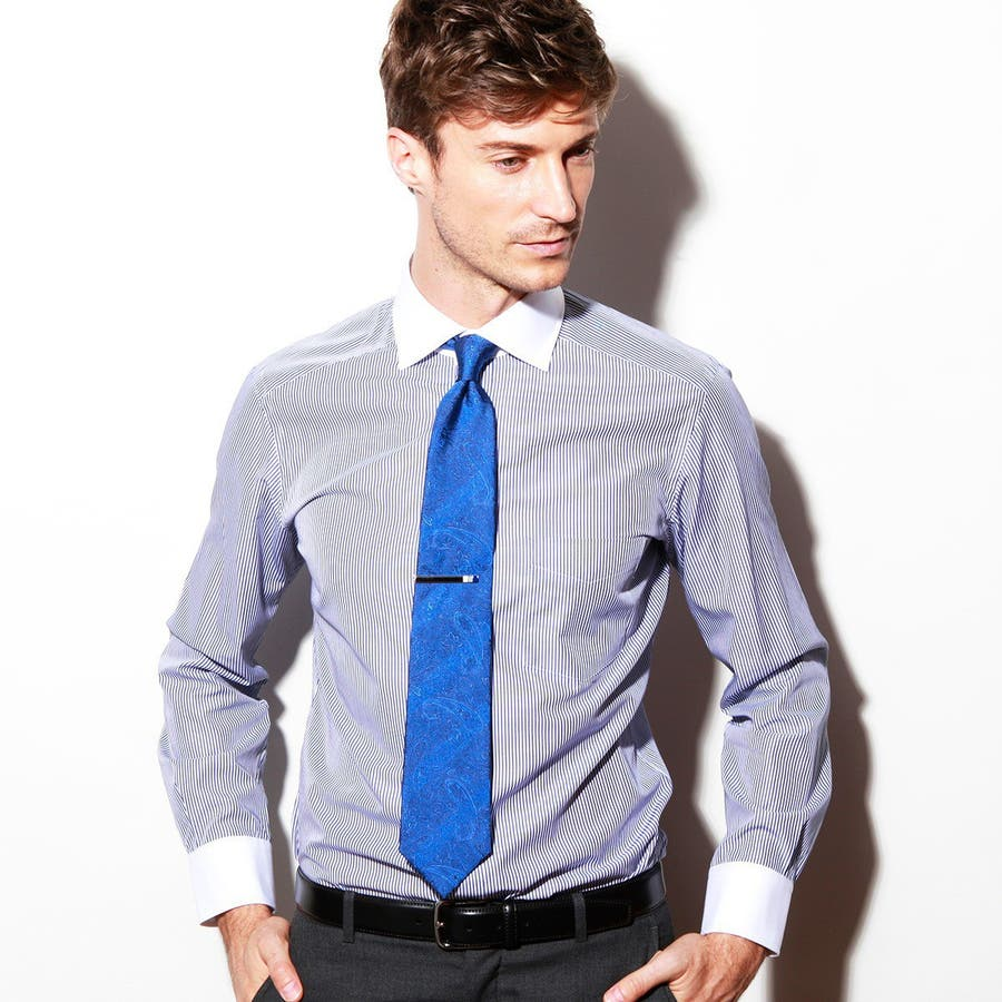 ペイズリー地柄ネクタイ 日本製 Premium ブルー 1