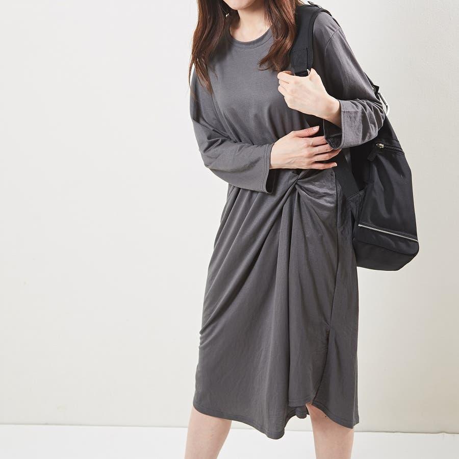 デザインカットソーワンピース 長袖 秋 3