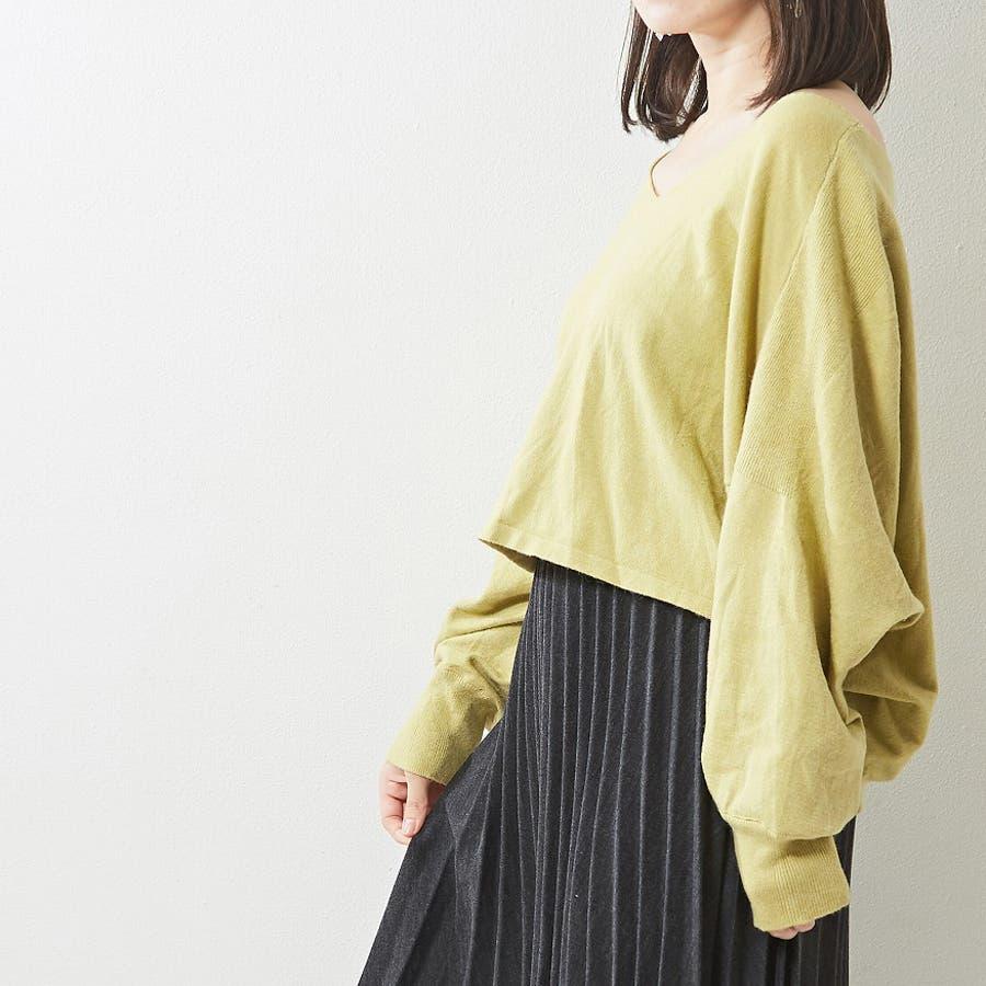 ゆったり袖がおしゃれ可愛い 切替入りデザインニット Vネック プルオーバー 韓国 韓国ファッション 秋 秋冬 47
